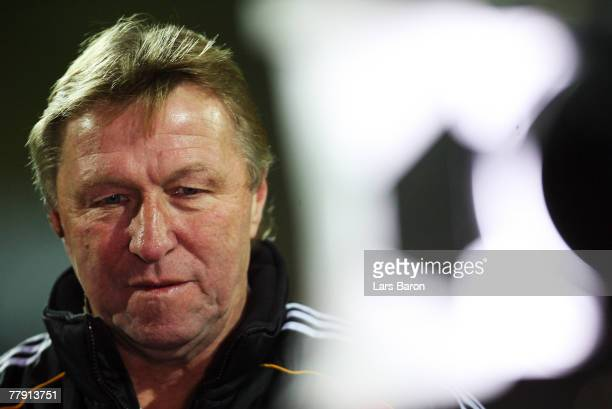 Coach Horst Hrubesch of Germany looks on prior to the U19 international friendly match between Germany and England at the Waldstadium on November 14,...