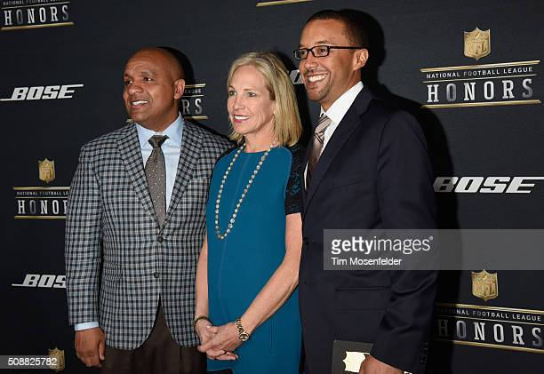 NFL coach Hue Jackson Dee Haslam and Sashi Brown attend the 5th Annual NFL Honors at Bill Graham Civic Auditorium on February 6 2016 in San Francisco...
