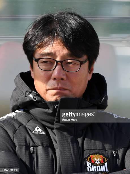 Coach Hwang Sun Hong of FC Seoul looks on prior to the preseason friendly between Urawa Red Diamonds and FC Seoul at Urawa Komaba Stadium on February...