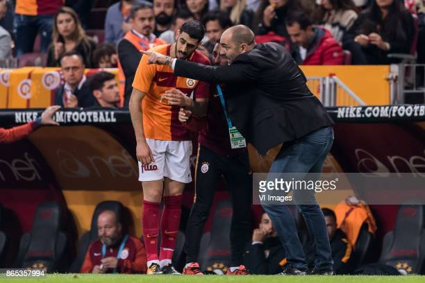 coach Igor Tudor of Galatasaray SK give instructions to Tolga Cigerci of Galatasaray SK during the Turkish Spor Toto Super Lig football match between...