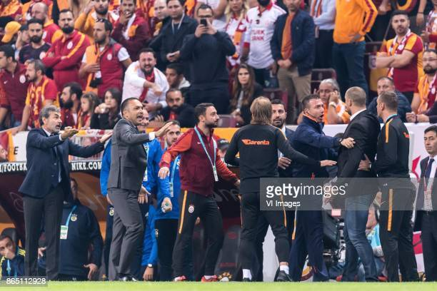 coach Igor Tudor of Galatasaray SK is unfriendly against the Fenerbahce staff coach Aykut Kocaman of Fenerbahce SK during the Turkish Spor Toto Super...