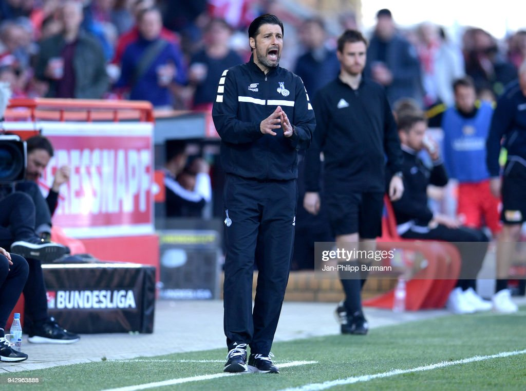 coach Ilia Gruev of MSV Duisburg during the 2nd Bundesliga game between Union Berlin and MSV Duisburg at Stadion an der alten Foersterei on April 7, 2018 in Berlin, Germany.