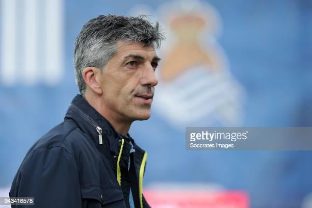 coach Imanol Alguacil of Real Sociedad during the La Liga Santander match between Real Sociedad v Girona at the Estadio Anoeta on April 8 2018 in San...