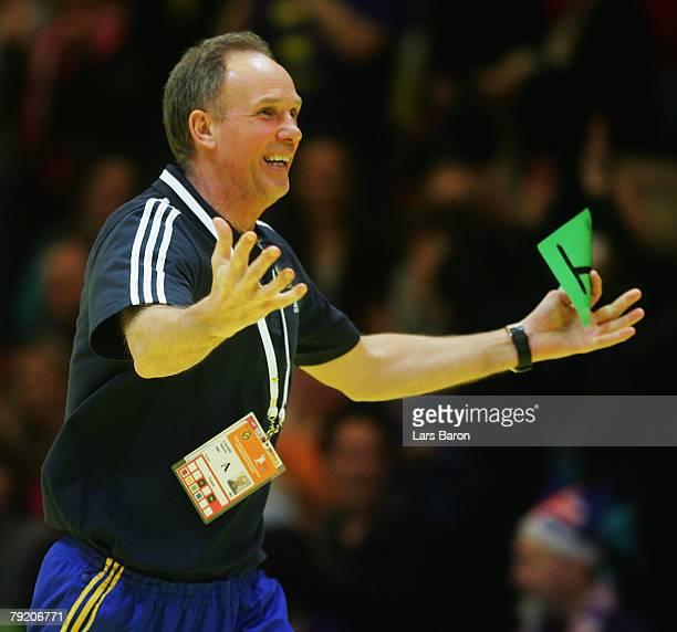 Coach Ingemar Linnell of Sweden celebrates after winning the Men's Handball European Championship main round Group II match between Spain and Sweden...