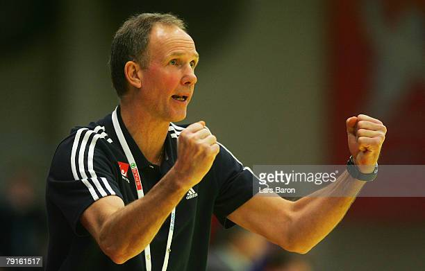 Coach Ingemar Linnell of Sweden celebrates during the Men's Handball European Championship main round Group II match between Hungary and Sweden at...
