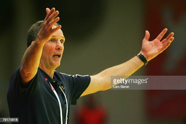Coach Ingemar Linnell of Sweden reacts during the Men's Handball European Championship main round Group II match between Hungary and Sweden at...