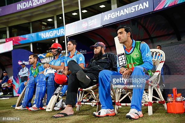 Coach InzamamulHaq of Afghanistan with his players during the ICC Twenty20 World Cup Group B match between Scotland and Afghanistan at the Vidarbha...