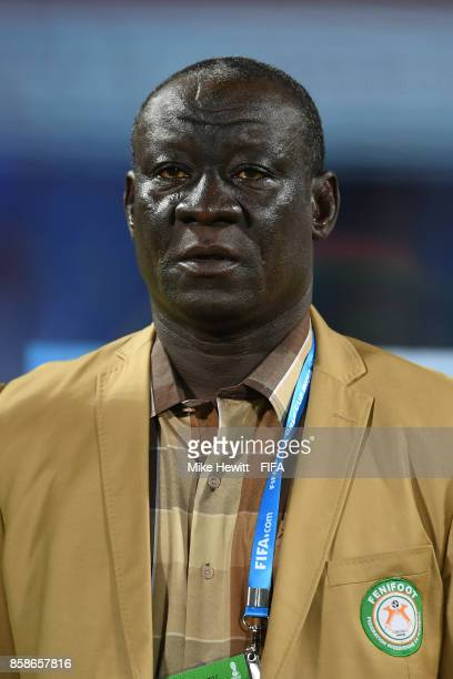 Coach Ismaila Tiemoko of Niger look on during the FIFA U17 World Cup India 2017 group D match between Korea DPR and Niger at the Jawaharlal Nehru...