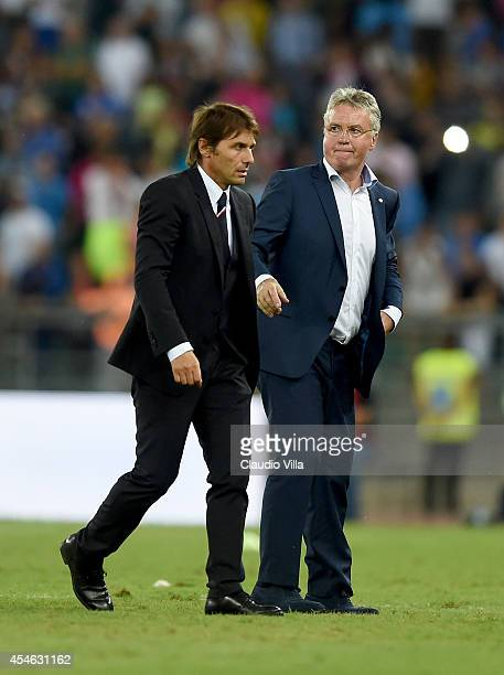 Coach Italy Antonio Conte and Guus Hiddink of Netherlands after the international friendly match between Italy and Netherlands at Stadio San Nicola...