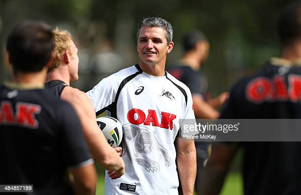 Coach Ivan Cleary is all smiles during a Penrith Panthers NRL training session at Sportingbet Stadium on April 15 2014 in Sydney Australia