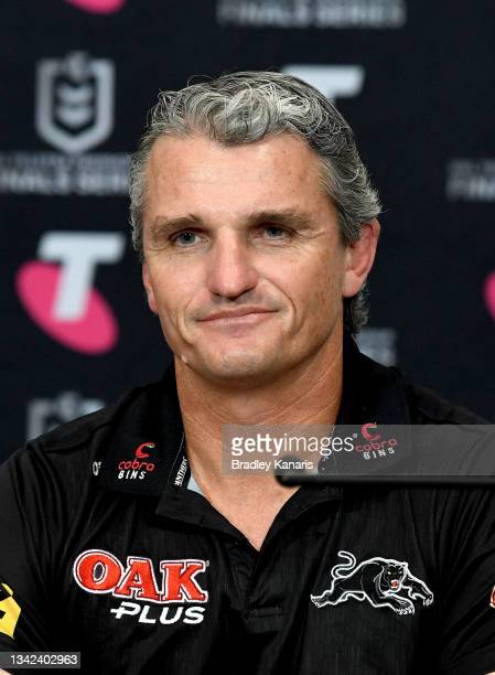 Coach Ivan Cleary of the Panthers speaks during a press conference after the NRL Grand Final Qualifier match between the Melbourne Storm and the...