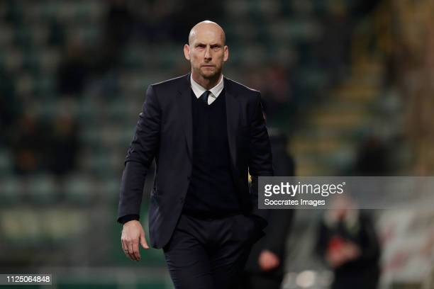coach Jaap Stam of PEC Zwolle during the Dutch Eredivisie match between ADO Den Haag v PEC Zwolle at the Cars Jeans Stadium on February 15 2019 in...