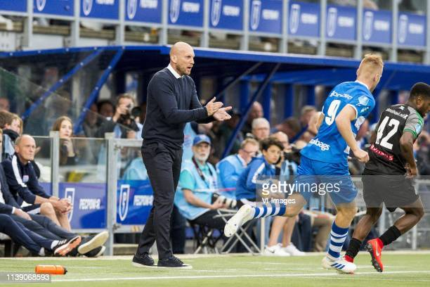 coach Jaap Stam of PEC Zwolle during the Dutch Eredivisie match between PEC Zwolle and FC Groningen at the MAC3Park stadium on April 24 2019 in...