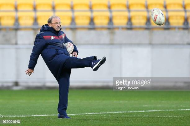 Coach Jacques Brunel kicks during the France Captain's Run at Westpac Stadium on June 15 2018 in Wellington New Zealand
