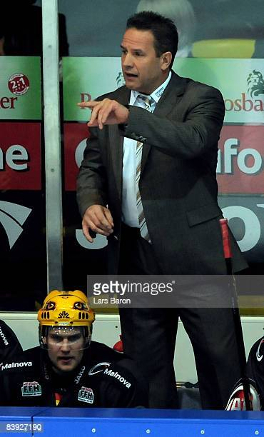 Coach Jamie Bartman of Frankfurt gestures during the DEL match between Frankfurt Lions and Straubing Tigers at the Eissporthalle on December 5 2008...