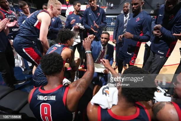 Coach Jarell Christian of the Capital City Go-Go leads a huddle during an NBA G-League game agains the Greensboro Swarm at the Entertainment and...