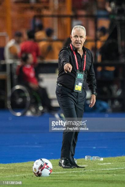 Coach Javier Aguirre of Egypt reaction during the 2019 Africa Cup of Nations Group A match between Egypt and Zimbabwe at Cairo International Stadium...