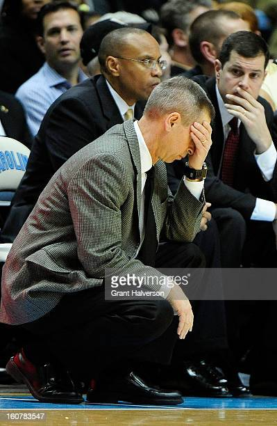 Coach Jeff Bzdelik of the Wake Forest Demon Deacons reacts during the closing minute of a loss to the North Carolina Tar Heels during play at the...