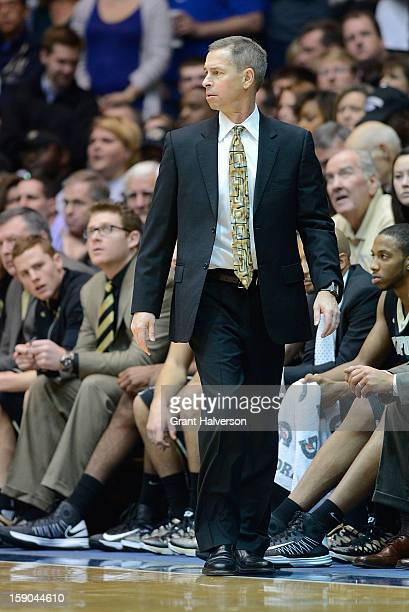 Coach Jeff Bzdelik of the Wake Forest Demon Deacons watches his team against the Duke Blue Devils during play at Cameron Indoor Stadium on January 5...