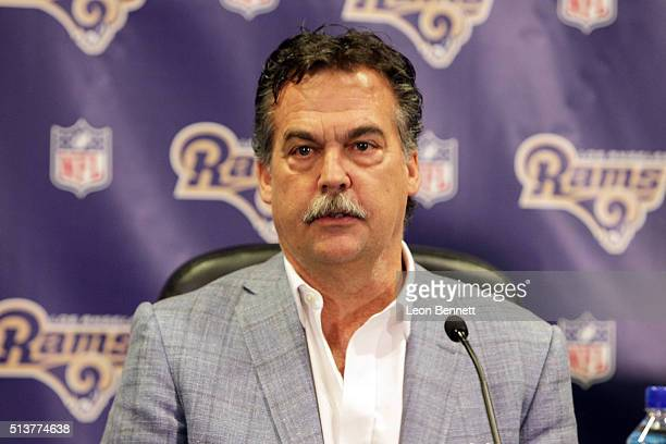 Coach Jeff Fisher of the Los Angeles Rams attends the Los Angeles Rams Media Availability on March 4 2016 in Manhattan Beach California