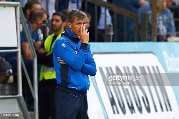 Coach Jens Haertel of Magdeburg during the 3 Liga match between SV Meppen and 1 FC Magdeburg at Haensch Arena on August 2 2017 in Meppen Germany