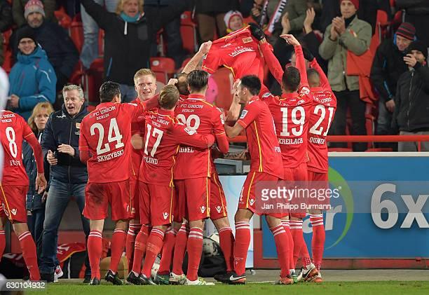 coach Jens Keller Steven Skrzybski Simon Hedlund Christopher Trimmel Roberto Puncec Damir Kreilach and Collin Quaner of 1 FC Union Berlin celebrate...