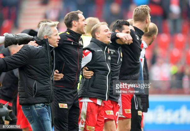 coach Jens KellerStephan Fuerstner Simon Hedlund Steven Skrzybski and Sebastian Polter of 1FC Union Berlin after the game between Union Berlin and...