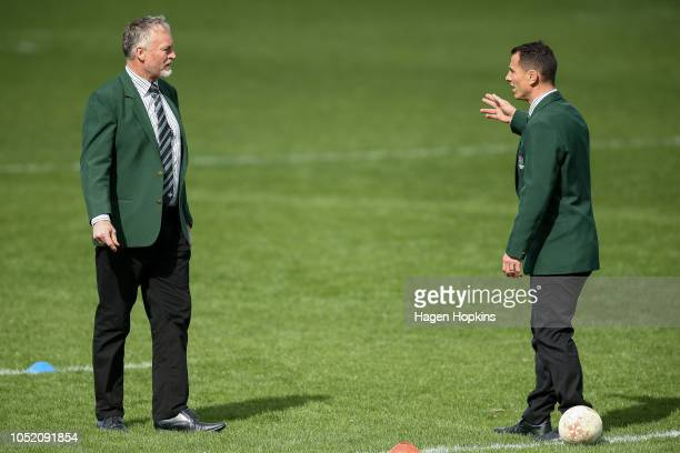 Coach Jeremy Cotter and assistant coach Aaron Good of Manawatu during the round nine Mitre 10 Cup match between Manawatu and Southland at Central...
