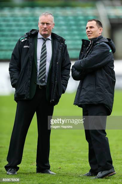Coach Jeremy Cotter of Manawatu and assistant coach Aaron Good look on during the round one Mitre 10 Cup match between Manawatu and Wellington at...