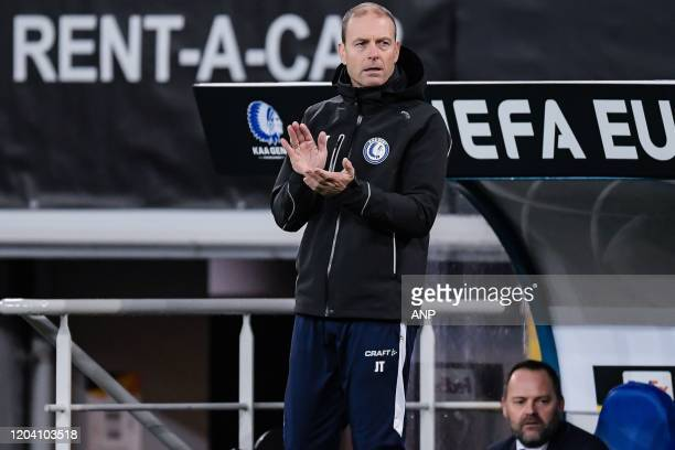 Coach Jess Thorup of KAA Gent during the UEFA Europa League round of 32 second leg match between KAA Gent v AS Roma at Ghelamco Arena on February 27,...