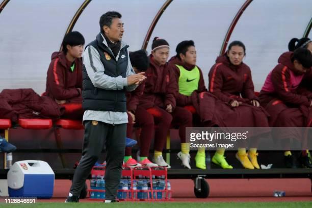 Coach Jia Xiuquan of China Women during the Algarve Cup Women match between China PR v Holland at the Estadio Municipal de Albufeira on March 6, 2019...