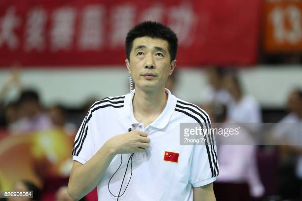 Coach Jiajie An of China looks on during the match between China and Serbia during 2017 Nanjing FIVB World Grand Prix Finals on August 6 2017 in...