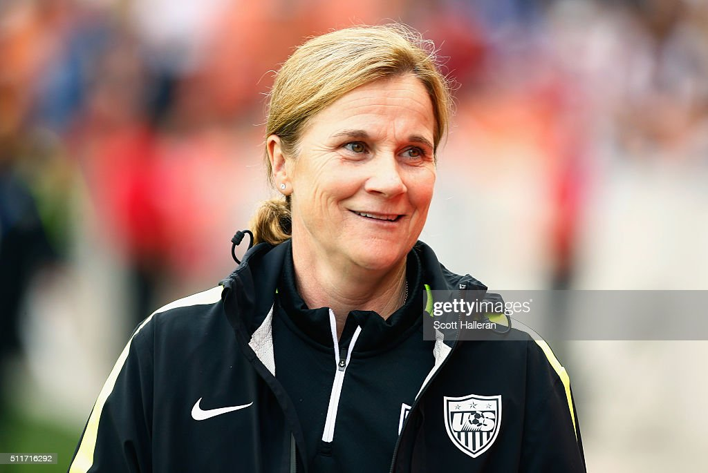 Coach Jillian Ellis of the United States waits on the field prior to start of the game between the United States and Canada during the Championship final of the 2016 CONCACAF Women's Olympic Qualifying at BBVA Compass Stadium on February 21, 2016 in Houston, Texas.