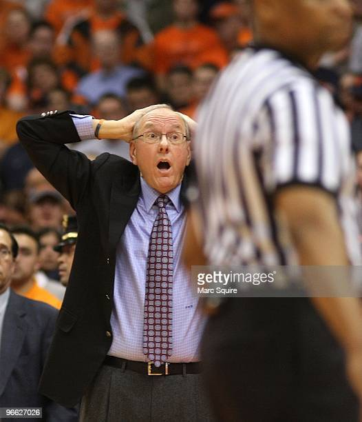 Coach Jim Boeheim of the Syracuse Orange reacts to a call during the game against the Connecticut Huskies at Carrier Dome on February 10 2010 in...