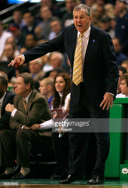 Coach Jim Calhoun of the Connecticut Huskies gestures while facing the Gonzaga Bulldogs during Game 1 of the Hartford Hall of Fame Showcase at the TD...