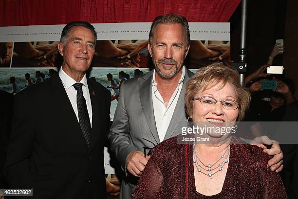 Coach Jim White actor Kevin Costner and Cheryl White attend the Bakersfield Special Screening of McFarland USA in Bakersfield CA on Feb 15th 2015