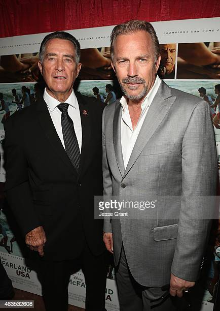 Coach Jim White and actor Kevin Costner attends the Bakersfield Special Screening of McFarland USA in Bakersfield CA on Feb 15th 2015