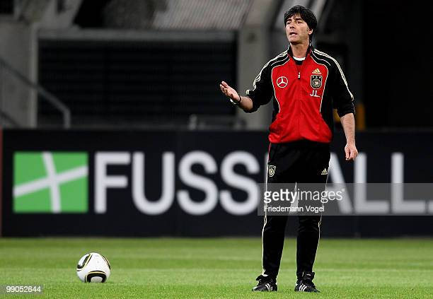 Coach Joachim Loew gives instructions during a German National team training session at the Esprit Arena on May 12, 2010 in Dusseldorf, Germany.