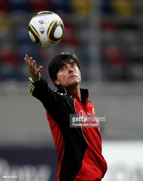Coach Joachim Loew in action during a German National team training session at the Esprit Arena on May 12 2010 in Dusseldorf Germany