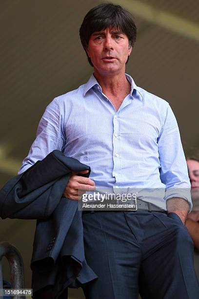 Coach Joachim Loew of Germany arrives for a press conference, on the eve of their FIFA World Cup Brazil 2014 qualifier against Austria, at...