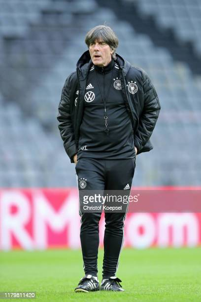 Coach Joachim Loew of Germany attends the final training session at Signal Iduna Park on October 08, 2019 in Dortmund, Germany. Germany will play...