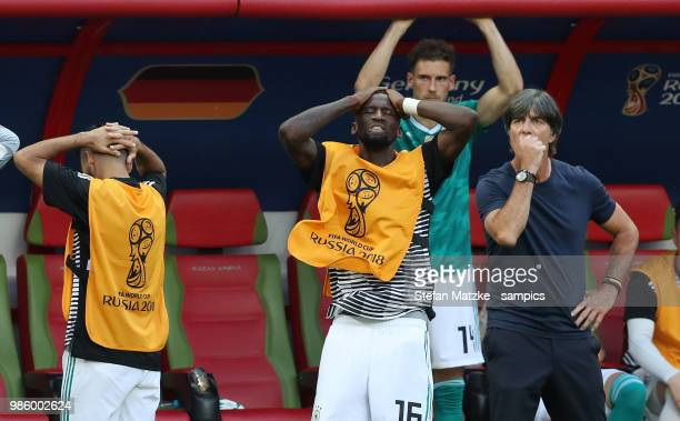 Coach Joachim Loew of Germany Leon Goretzka of Germany Antonio Ruediger of Germany reacts following there team's loss during the 2018 FIFA World Cup...