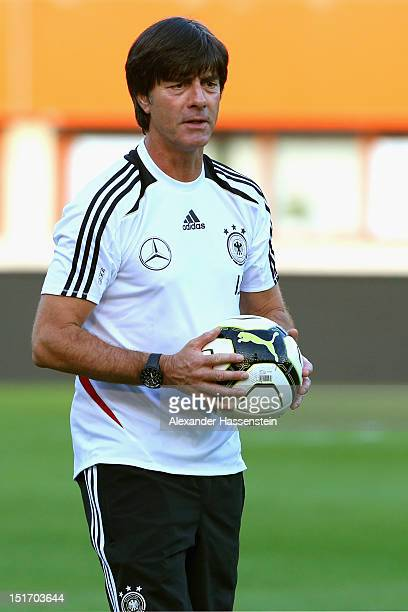 Coach Joachim Loew of Germany looks on during a training session, on the eve of their FIFA World Cup Brazil 2014 qualifier against Austria, at...