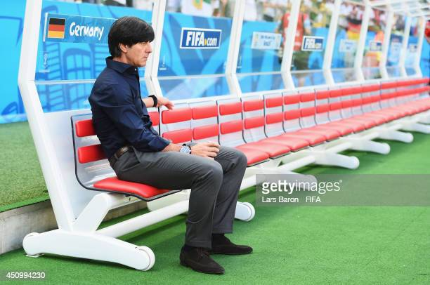 Coach Joachim Loew of Germany looks on prior to the 2014 FIFA World Cup Brazil Group G match between Germany and Ghana at Castelao on June 21 2014 in...