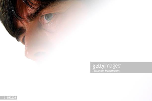 Coach Joachim Loew of Germany talks to the media during a press conference on the eve of their FIFA World Cup Brazil 2014 qualifier against Austria...