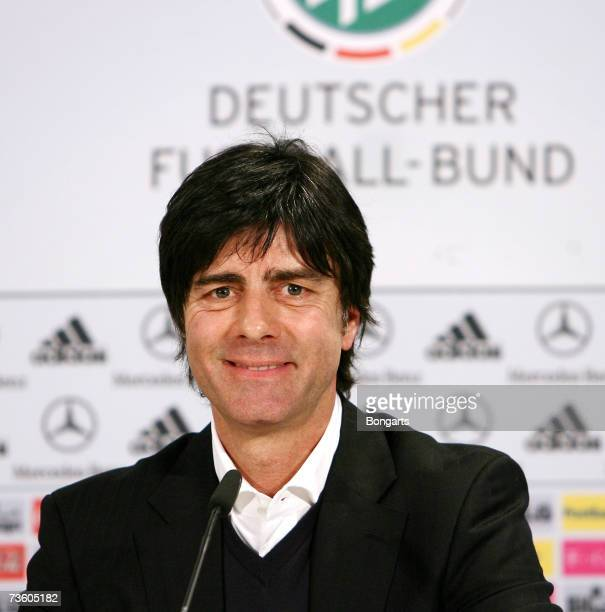 Coach Joachim Loew of the German Football Federation smiles during a DFB press conference at the Hotel Radisson SAS Expo Plaza on March 16 2007 in...