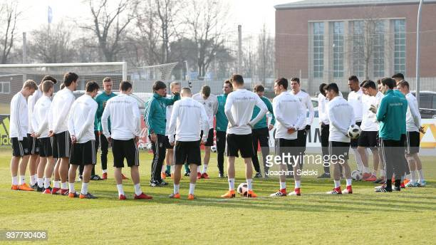 Coach Joachim Loew with the Team at the training session of the German National Team at Schenkendorffplatz on March 25 2018 in Berlin Germany