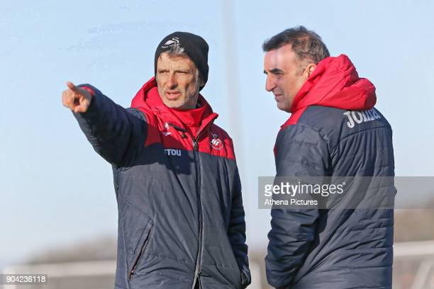 Coach Joao Mario with manager Carlos Carvalhal speak during the Swansea City Training at The Fairwood Training Ground on January 11 2018 in Swansea...