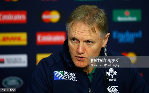 Coach Joe Schmidt of Ireland talks to the media during the post match press conference during the 2015 Rugby World Cup Pool D match between Ireland...
