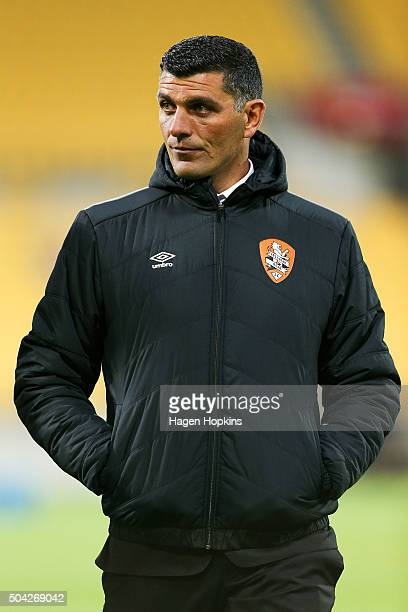 Coach John Aloisi of the Roar looks on during the round 14 ALeague match between the Wellington Phoenix and the Brisbane Roar at Westpac Stadium on...